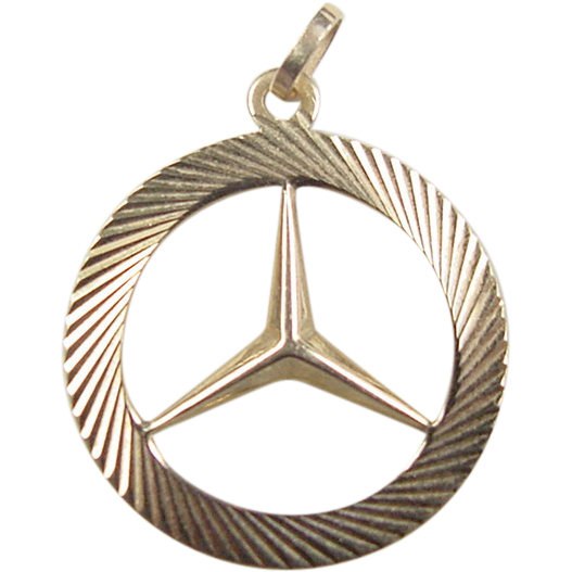 Vintage 14k gold mercedes benz emblem pendant charm from for Mercedes benz pendant