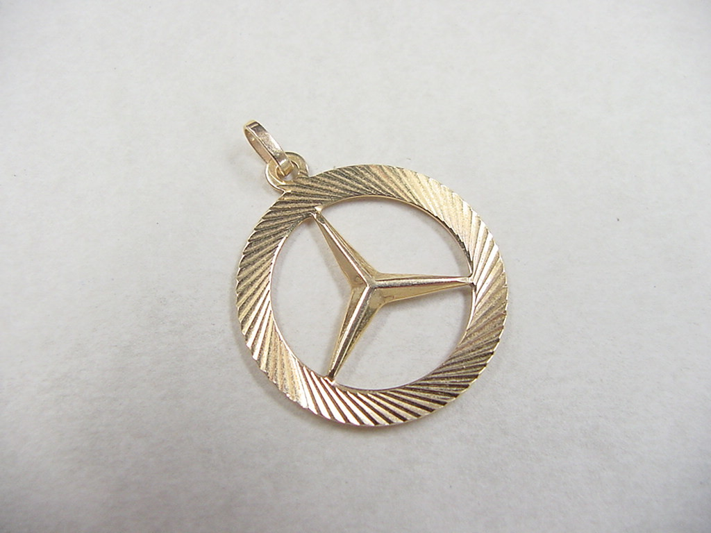 Vintage 14k gold mercedes benz emblem pendant charm from for Mercedes benz chain