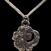 Vintage Sterling Silver Nouveau Style Necklace