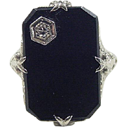 Art Deco 14k White Gold Onyx and Diamond Ring