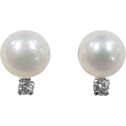 Vintage Sterling Silver Cultured Pearl and Spinel Stud Earrings