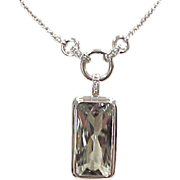 REDUCED Vintage Sterling Silver Green Amethyst / Prasiolite and Spinel Necklace