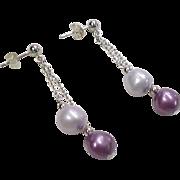 Sterling Silver Purple Pearl Dangle Earrings