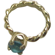 Vintage 14k Gold Ring Charm with Blue Glass