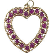 Vintage 18k Gold Ruby Heart Charm