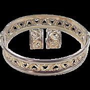 Vintage Sterling Silver and 14k Gold Heart Set ~ Hoop Earrings and Bangle Bracelet