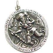 REDUCED LARGE Sterling Silver Saint Christopher Medallion / Pendant ~ Religious