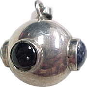 Musical Sterling Silver Jingle Ball Pendant, Sodalite & Onyx