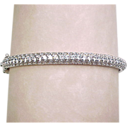 Vintage Sterling Silver Cubic Zirconia Hinged Bangle Bracelet