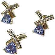 Vintage 14k Gold Tanzanite and Diamond Earring and Pendant Set