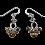 Sterling Silver Tigers Eye Dangle Earrings