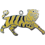 Vintage Sterling Silver Tiger Charm with Enamel