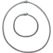 SALE PENDING Fope Gioielli Vintage 18k White Gold Set ~ Necklace & Bracelet