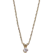 Vintage 14k Gold .10 Carat Diamond Necklace