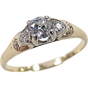 Vintage 14k Gold Two-Tone .345 ctw Diamond Ring