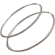 Mimi So Large 18k White Gold .40 ctw Diamond Oval Hoop Earrings