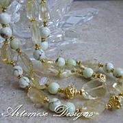 Sweet Lemonade: 2-Strand Lemon Chrysoprase, Citrine, Gold-Filled & Vermeil Necklace