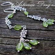 Green Garland: Peridot & Silver Long Dangle Earrings
