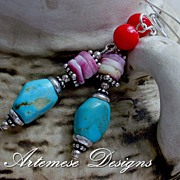 Old Friends: Blue Turquoise, Red Bamboo Coral, Purple Spiny Oyster & Silver Dangle Earrings