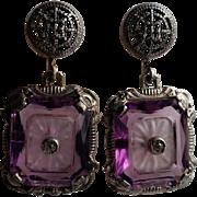 Camphor & Purple Crystal Glass Sterling Silver Earrings