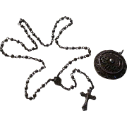 Beautiful 800 Silver Filigree Italian Roma Rosary w/ Locket Case