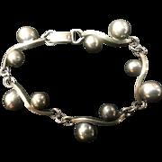 Modernist Toyokoki Silver Bracelet Semi Spheres & Waves