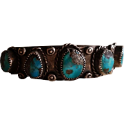 Sterling & 5 Turquoise Stone Silver Row Bracelet