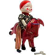 Celluloid Clown on Donkey Windup from Japan