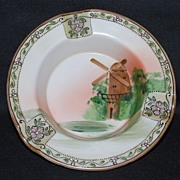 Nippon Ashtray – enameled flowers and windmill