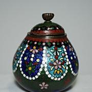 Japanese cloisonne (cloisonné) lidded pot with ginbari