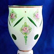 Bohemian Czech white cut to green goblet