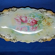 SOLD R.S. Prussia celery dish – reflecting poppies and daisies