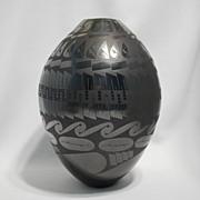 Black on black Mata Ortiz pot – Juan Mora