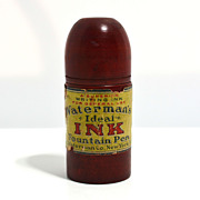 Waterman's travelling eyedropper ink bottle with wood case – nice label