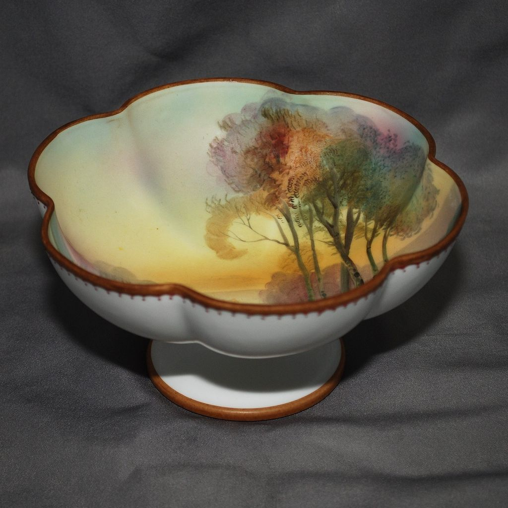 Footed Nippon bowl with landscape