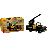 Haji Tin Friction Anti-Aircraft Friction Jeep with Box