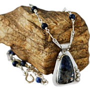 Dumortierite and Sterling Silver Necklace