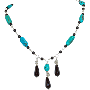 """American Turquoise, Onyx, Silver Necklace: """"Turquoise Drama"""""""