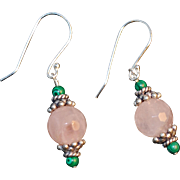 "Rose Quartz, Silver, Malachite Earrings: ""Rose Blossom"""