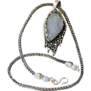 """Blue Druzy (Drusy) and Silver Necklace """"Winter Twilight"""""""