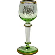 Green and Clear Cordial with Spun Glass Stem