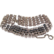 Vintage Bracelet With Rhinestones, Rhodium Finish