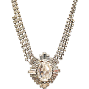 Vintage Necklace Clear Rhinestone  White Metal