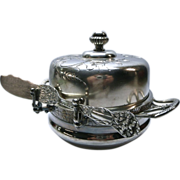 SOLD Silverplate  Covered Butter Dish With Knife