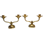 Brass Art Deco style Two Arm Candlestick Holders (2) Made In Italy