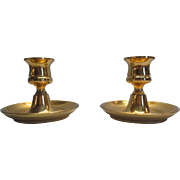 Vintage Solid Brass Single Candlestick Holders England