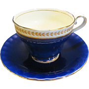 Aynsley Bone China Tea Cup and Saucer Cobalt Blue With Gold Trim