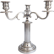Silverplate Corinthian Column Style Candelabra With 3 Arms