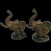 SOLD Vintage Bronze Elephant Bookends, Wood Base