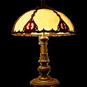 Salem Brothers Metal Overlay Slag Lamp 1920-30 c